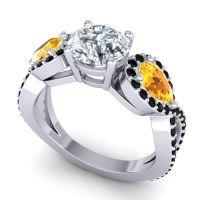 Three Stone Pave Varsa Diamond Ring with Citrine and Black Onyx in Platinum