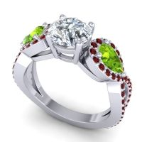 Three Stone Pave Varsa Diamond Ring with Peridot and Garnet in 14k White Gold