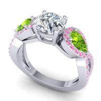 Three Stone Pave Varsa Diamond Ring with Peridot and Pink Tourmaline in Platinum