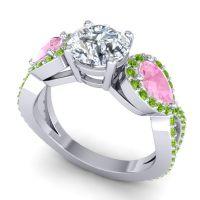Three Stone Pave Varsa Diamond Ring with Pink Tourmaline and Peridot in 18k White Gold