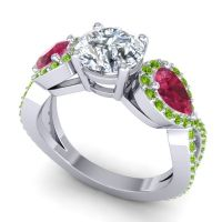 Three Stone Pave Varsa Diamond Ring with Ruby and Peridot in Platinum