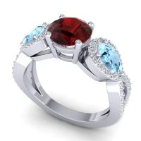 Three Stone Pave Varsa Garnet Ring with Aquamarine and Diamond in Palladium