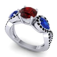 Garnet Three Stone Pave Varsa Ring with Blue Sapphire and Black Onyx in Platinum