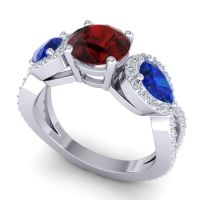 Three Stone Pave Varsa Garnet Ring with Blue Sapphire and Diamond in 18k White Gold