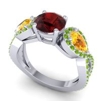 Three Stone Pave Varsa Garnet Ring with Citrine and Peridot in 14k White Gold