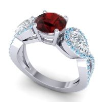 Garnet Three Stone Pave Varsa Ring with Diamond and Aquamarine in Platinum