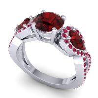 Three Stone Pave Varsa Garnet Ring with Ruby in Platinum