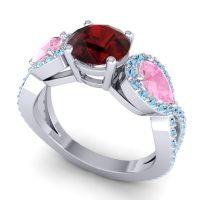 Three Stone Pave Varsa Garnet Ring with Pink Tourmaline and Aquamarine in 14k White Gold
