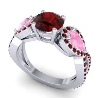 Three Stone Pave Varsa Garnet Ring with Pink Tourmaline in Palladium