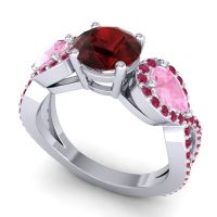 Three Stone Pave Varsa Garnet Ring with Pink Tourmaline and Ruby in Palladium
