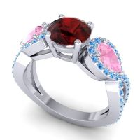 Three Stone Pave Varsa Garnet Ring with Pink Tourmaline and Swiss Blue Topaz in 18k White Gold