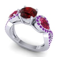 Three Stone Pave Varsa Garnet Ring with Ruby and Amethyst in 18k White Gold