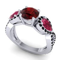 Garnet Three Stone Pave Varsa Ring with Ruby and Black Onyx in 18k White Gold
