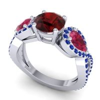 Three Stone Pave Varsa Garnet Ring with Ruby and Blue Sapphire in 18k White Gold