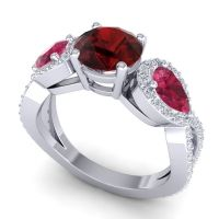 Three Stone Pave Varsa Garnet Ring with Ruby and Diamond in 14k White Gold