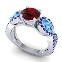 Three Stone Pave Varsa Garnet Ring with Swiss Blue Topaz and Blue Sapphire in Platinum