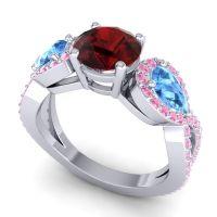 Three Stone Pave Varsa Garnet Ring with Swiss Blue Topaz and Pink Tourmaline in Platinum