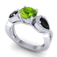 Three Stone Pave Varsa Peridot Ring with Black Onyx and Diamond in 18k White Gold