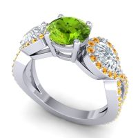 Three Stone Pave Varsa Peridot Ring with Diamond and Citrine in 18k White Gold