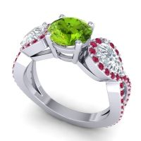 Three Stone Pave Varsa Peridot Ring with Diamond and Ruby in 14k White Gold