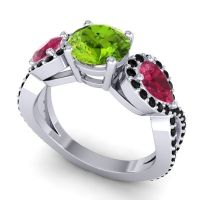 Three Stone Pave Varsa Peridot Ring with Ruby and Black Onyx in Platinum