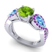 Three Stone Pave Varsa Peridot Ring with Swiss Blue Topaz and Amethyst in Palladium