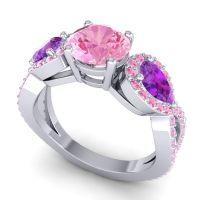 Three Stone Pave Varsa Pink Tourmaline Ring with Amethyst in Platinum