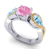 Three Stone Pave Varsa Pink Tourmaline Ring with Aquamarine and Citrine in 14k White Gold