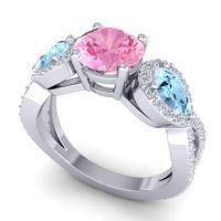 Three Stone Pave Varsa Pink Tourmaline Ring with Aquamarine and Diamond in Palladium