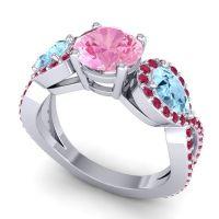 Three Stone Pave Varsa Pink Tourmaline Ring with Aquamarine and Ruby in Platinum