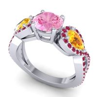 Three Stone Pave Varsa Pink Tourmaline Ring with Citrine and Ruby in Platinum