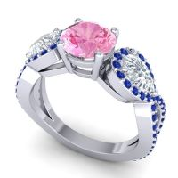Three Stone Pave Varsa Pink Tourmaline Ring with Diamond and Blue Sapphire in 14k White Gold