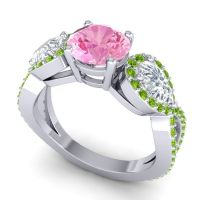 Three Stone Pave Varsa Pink Tourmaline Ring with Diamond and Peridot in 14k White Gold