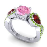 Three Stone Pave Varsa Pink Tourmaline Ring with Garnet and Peridot in 18k White Gold