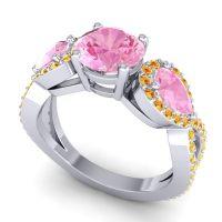 Three Stone Pave Varsa Pink Tourmaline Ring with Citrine in Palladium