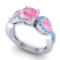 Three Stone Pave Varsa Pink Tourmaline Ring with Swiss Blue Topaz in 18k White Gold
