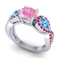 Three Stone Pave Varsa Pink Tourmaline Ring with Swiss Blue Topaz and Ruby in 18k White Gold