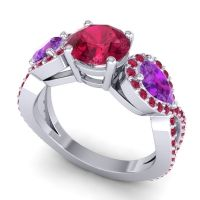 Three Stone Pave Varsa Ruby Ring with Amethyst in 14k White Gold