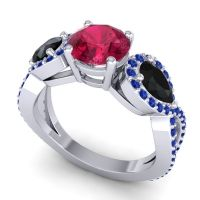Three Stone Pave Varsa Ruby Ring with Black Onyx and Blue Sapphire in 18k White Gold