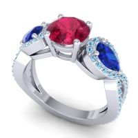 Three Stone Pave Varsa Ruby Ring with Blue Sapphire and Aquamarine in Palladium