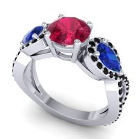 Three Stone Pave Varsa Ruby Ring with Blue Sapphire and Black Onyx in Platinum