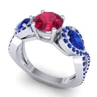 Three Stone Pave Varsa Ruby Ring with Blue Sapphire in Palladium