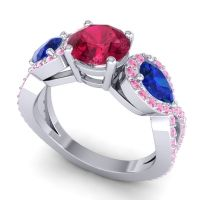 Three Stone Pave Varsa Ruby Ring with Blue Sapphire and Pink Tourmaline in Palladium