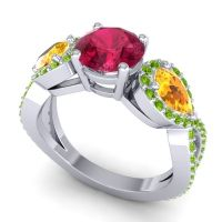 Three Stone Pave Varsa Ruby Ring with Citrine and Peridot in 18k White Gold