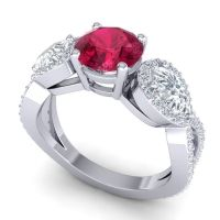 Three Stone Pave Varsa Ruby Ring with Diamond in 18k White Gold