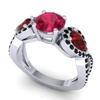 Three Stone Pave Varsa Ruby Ring with Garnet and Black Onyx in 14k White Gold