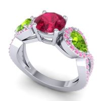 Three Stone Pave Varsa Ruby Ring with Peridot and Pink Tourmaline in 14k White Gold