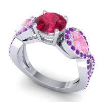 Three Stone Pave Varsa Ruby Ring with Pink Tourmaline and Amethyst in Palladium