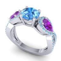Three Stone Pave Varsa Swiss Blue Topaz Ring with Amethyst and Aquamarine in Platinum