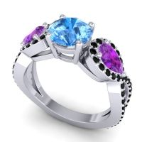Three Stone Pave Varsa Swiss Blue Topaz Ring with Amethyst and Black Onyx in 14k White Gold